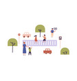 children learning traffic rules playing vector image vector image