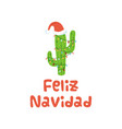 christmas cactus in santa hat banner text merry vector image vector image