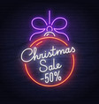 christmas sale neon sign neon sign new year vector image vector image