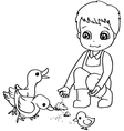 Coloring book child feeding duck vector image vector image