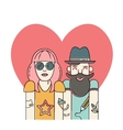 Cool hipster couple in love vector image