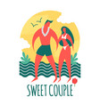 couple on a beach man and girl sea vacation vector image vector image
