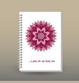 cover of diary or notebook pink mandala vector image vector image