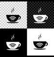 cup coffee shop with free wifi zone icon vector image vector image