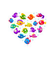 cute colorful tropical fishes heart shape vector image vector image