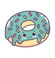 cute food donut sweet dessert kawaii cartoon vector image vector image