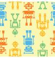 Cute retro robots color silhouette pattern vector image vector image