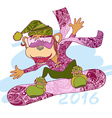 decorative monkey snowboarder vector image vector image