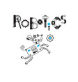 dog cute robot and the inscription robotics of the vector image