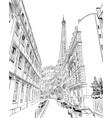 eiffel tower sketch paris france vector image vector image