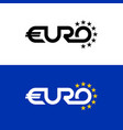 euro word text logo with stars flag colors letter vector image vector image