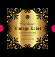exclusive ornate golden label vector image