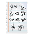Eyes on paper vector image