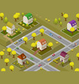 flat street and houses landscape gps navigation vector image vector image