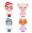 fox mice pig walrus cute animal boy girl cubs vector image