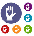 hand with heart icons set vector image