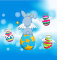Happy easter eggs on with blue sky vector image vector image