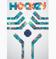ice hockey colorful triangle geometric poster vector image