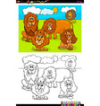 lions animal characters group color book vector image