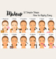makeup 12 simple steps how to apply easy vector image