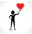 Man holding a heart icon vector image