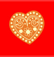 patterned yellow heart on a red background vector image vector image