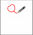 Pencil drawing a heart shap vector image vector image