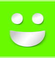 positive smile in paper style on green background vector image vector image