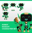 robot mascot character set logo icon vector image