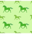 seamless pattern with colorful green horses on vector image