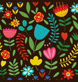 seamless pattern with flowers on black background vector image
