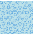 seamless pattern with icons and signs in outline s vector image vector image