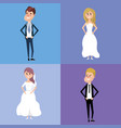 set bried and groom marry style vector image vector image