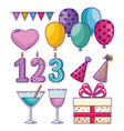 set happy birthday decoration to celebrate holiday vector image