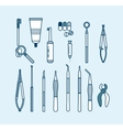 set of doctor office with dental equipment in line vector image vector image