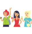 set three girls hipsters characters vector image