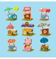Stalls with Food in Style an Isometric vector image