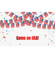 usa garland flag with confetti on transparent vector image