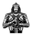 vintage brave bearded king warrior vector image vector image
