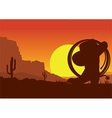 Wild west american desert landscape with cowboy vector image vector image