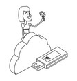 woman and technology isometric in black and white vector image vector image