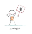 zoologist holds a placard with a spider vector image vector image