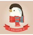 Christmas cute forest penguin head logo vector image