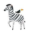 african zebra with toucan wild characters vector image vector image