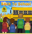 back to school with student in front school bus vector image vector image
