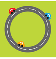 Background with round road and cartoon cars vector image vector image