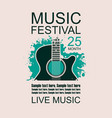 banner with acoustic guitar on grunge background vector image vector image
