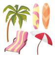 beach icon set - cartoon equipment - lounger palm vector image