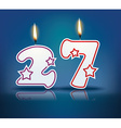 Birthday candle number 27 vector image vector image