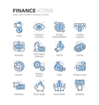 Blue Line Finance Icons vector image vector image